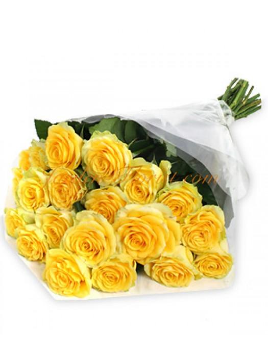 Класически букет от жълти рози
